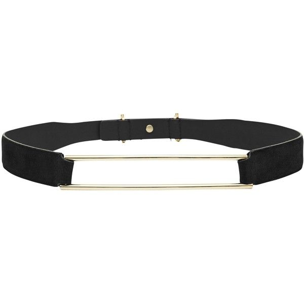 Reiss Lallie Hollow Metal Bar Belt (€72) ❤ liked on Polyvore featuring accessories, belts, reiss, genuine leather belt, leather belt, real leather belts and wide belts