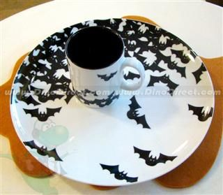 halloween handmade ceramic bats pattern candy plate cup set dinodirectcom - Halloween Plates Ceramic