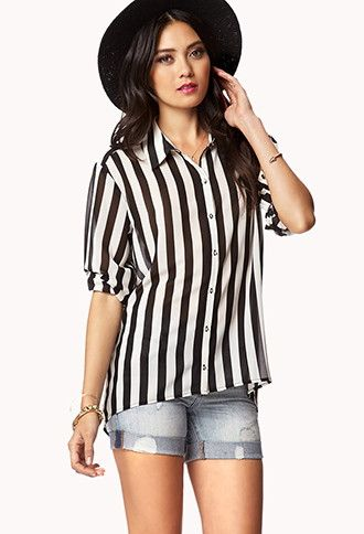 Vertical Stripe High-Low Top | LOVE21 - 2047959567