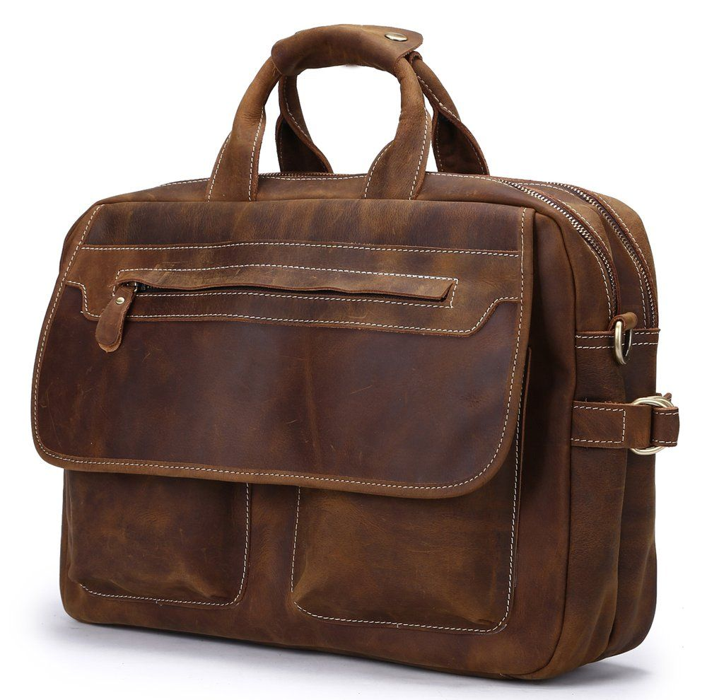 Color : Brown , Size : S Leather Briefcase Fashion Leisure Men Business Briefcase Portable Computer Bag Gift Mens Bag The Briefcase Can Hold A Laptop The Briefcase Can Hold A Laptop Mens Bag