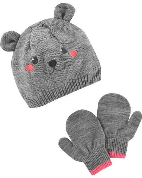 8cab53e3a Bear Hat & Mitten Set | Products | Pinterest | Toddler girl, Baby ...