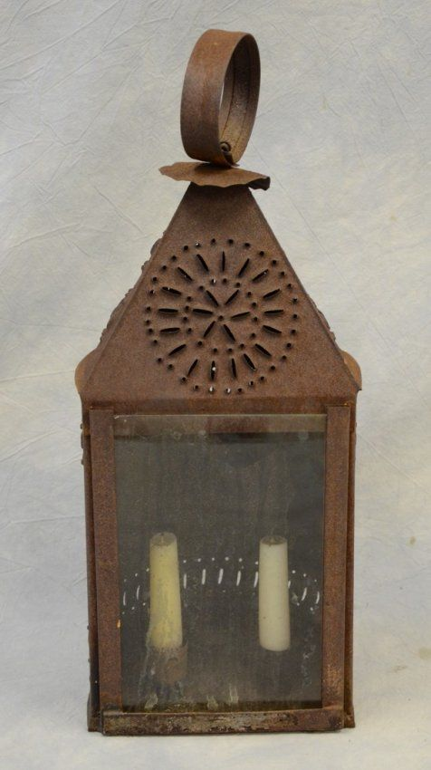 Punched Tin Double Candle Lantern With Glass Front Lot 5603 Candle Lanterns Outdoor Candle Lanterns Antique Lanterns