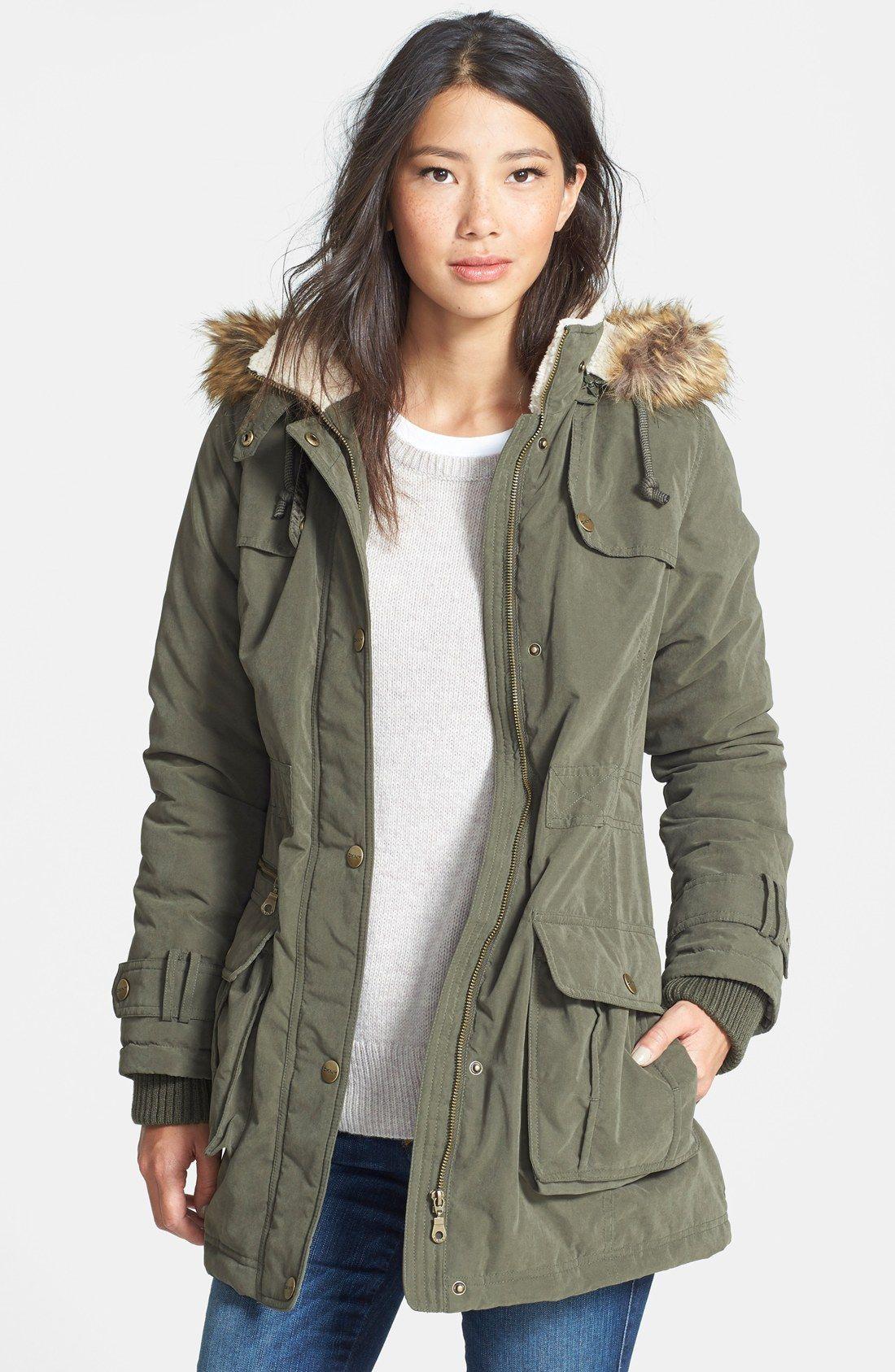 DKNY Faux Fur Trim Anorak (Regular & Petite) | Get in my closet ...