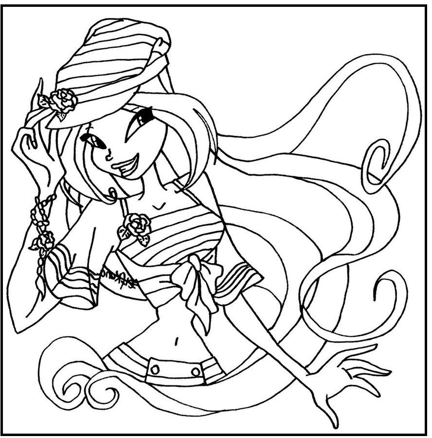 Ausmalbilder · Sailor Flora Winx Club coloring picture for kids