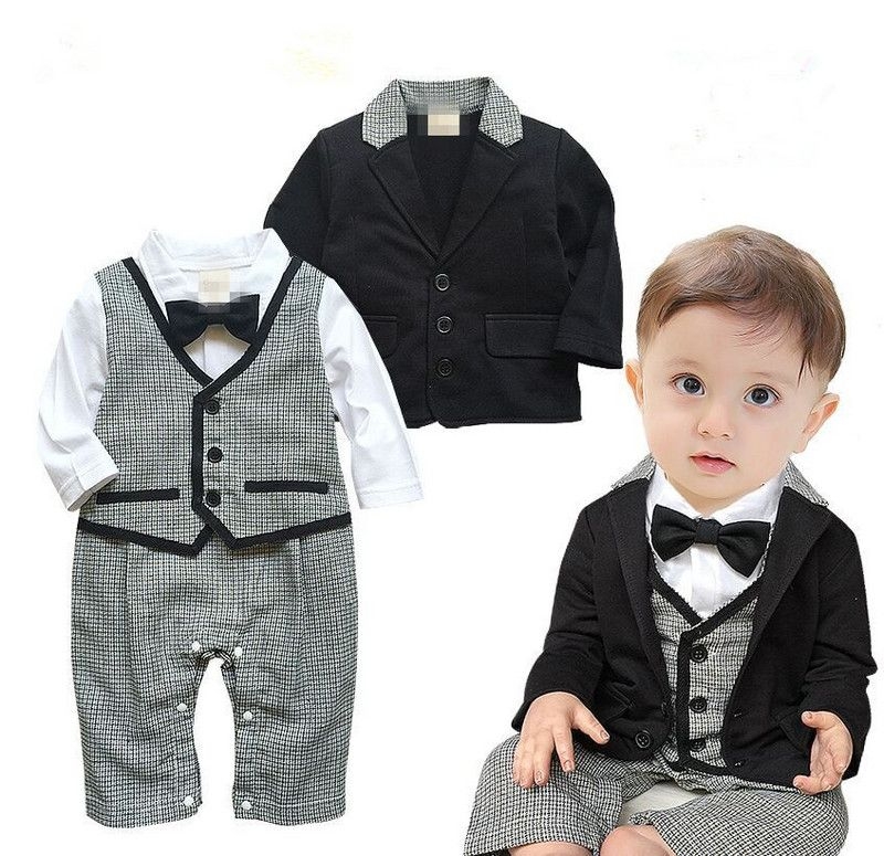2afe24a318641 2016 Toddlers baby boy 2 pcs set gentleman baby boy clothes white coat+  striped rompers clothing set newborn wedding suit What a beautiful image  Get it here