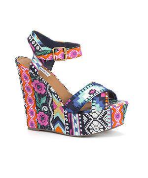 c4375d2485 Steve Madden Floral Aztec Print Wedges | WANTS | Fashion, Shoes, Wedges