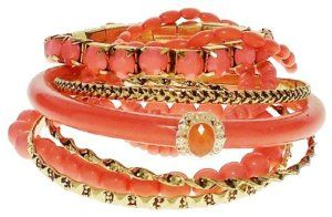 Bracelet - Coral Resin & Gold Tone Stack and Stretch Bracelets - Kiki's Coral Kiss  #kikisjewels $14.95! Click here to get your today! #fashion #bracelet #jewelry #coral #ladies #women