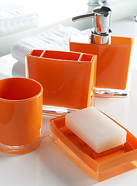 Orange acrylic bath accessories