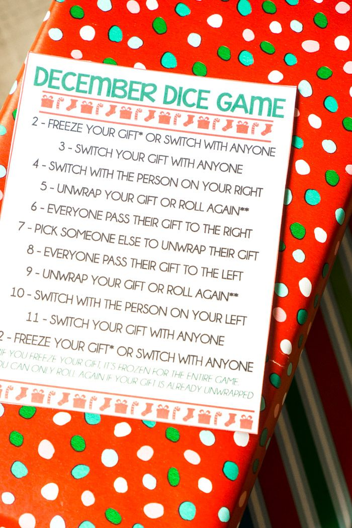 December Dice Gift Exchange Game Christmas 2017 Pinterest