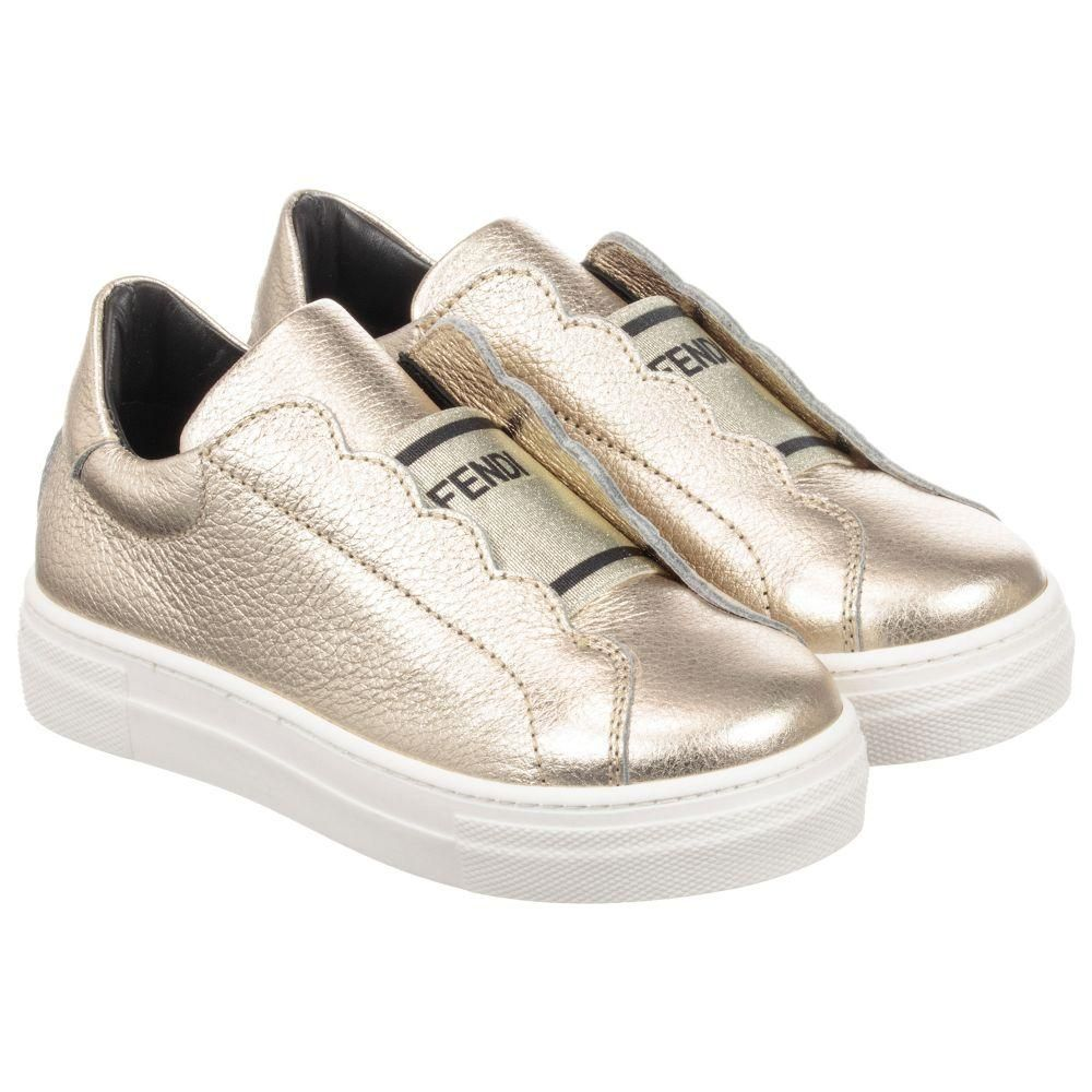 e6e6db8e3ea8 Gold Logo Slip On Sneakers