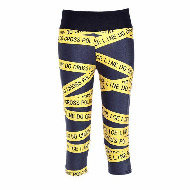 Police Line Printing Capris Leggings Super Soft Workout Sports Leggings High Waist