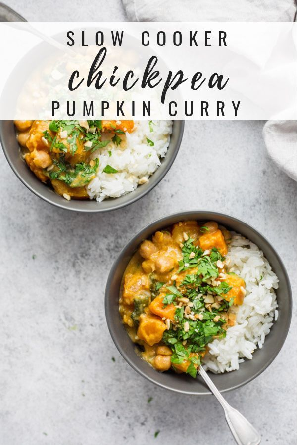 Slow cooker chickpea pumpkin curry This slow cooker recipe is a great healthy and easy vegetarian dish to throw together! Throw all the ingredients in your crockpot and just wait for the magic to happen!