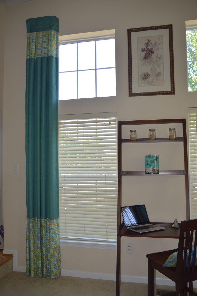 Custom box pleated drapery panel with color blocking window