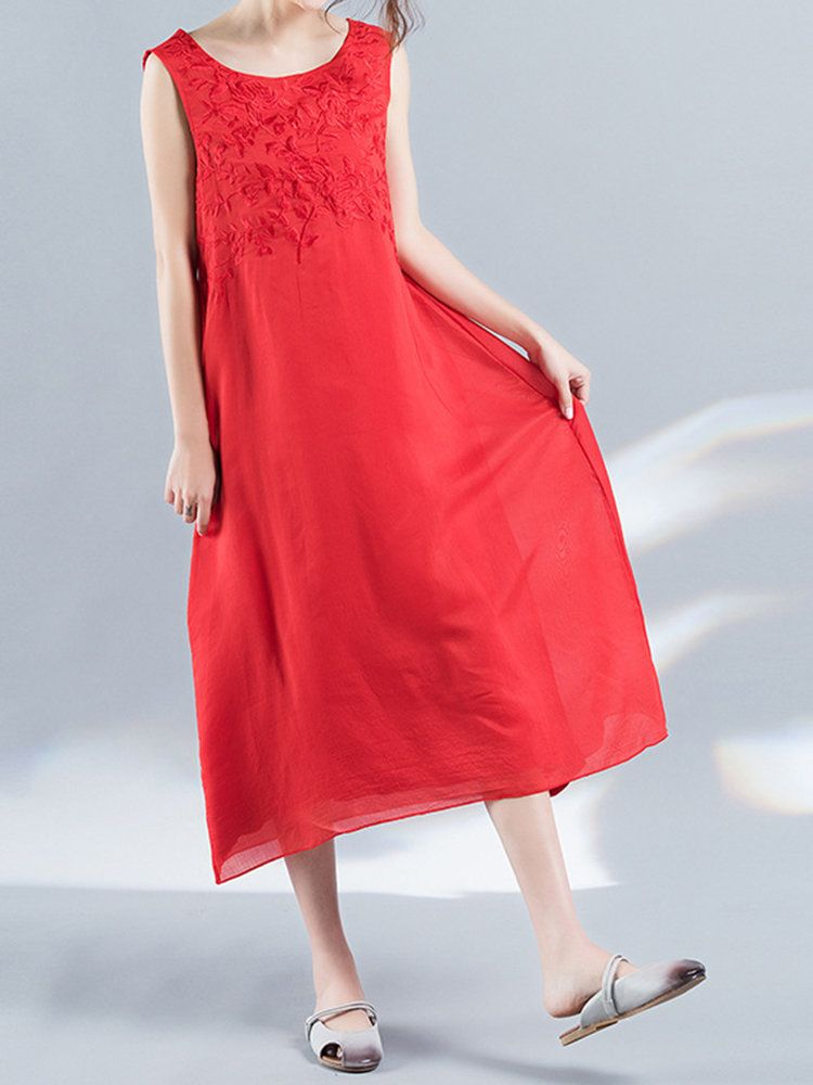 Women Embroidered Organza Sleeveless Mid-Long Vintage Dresses