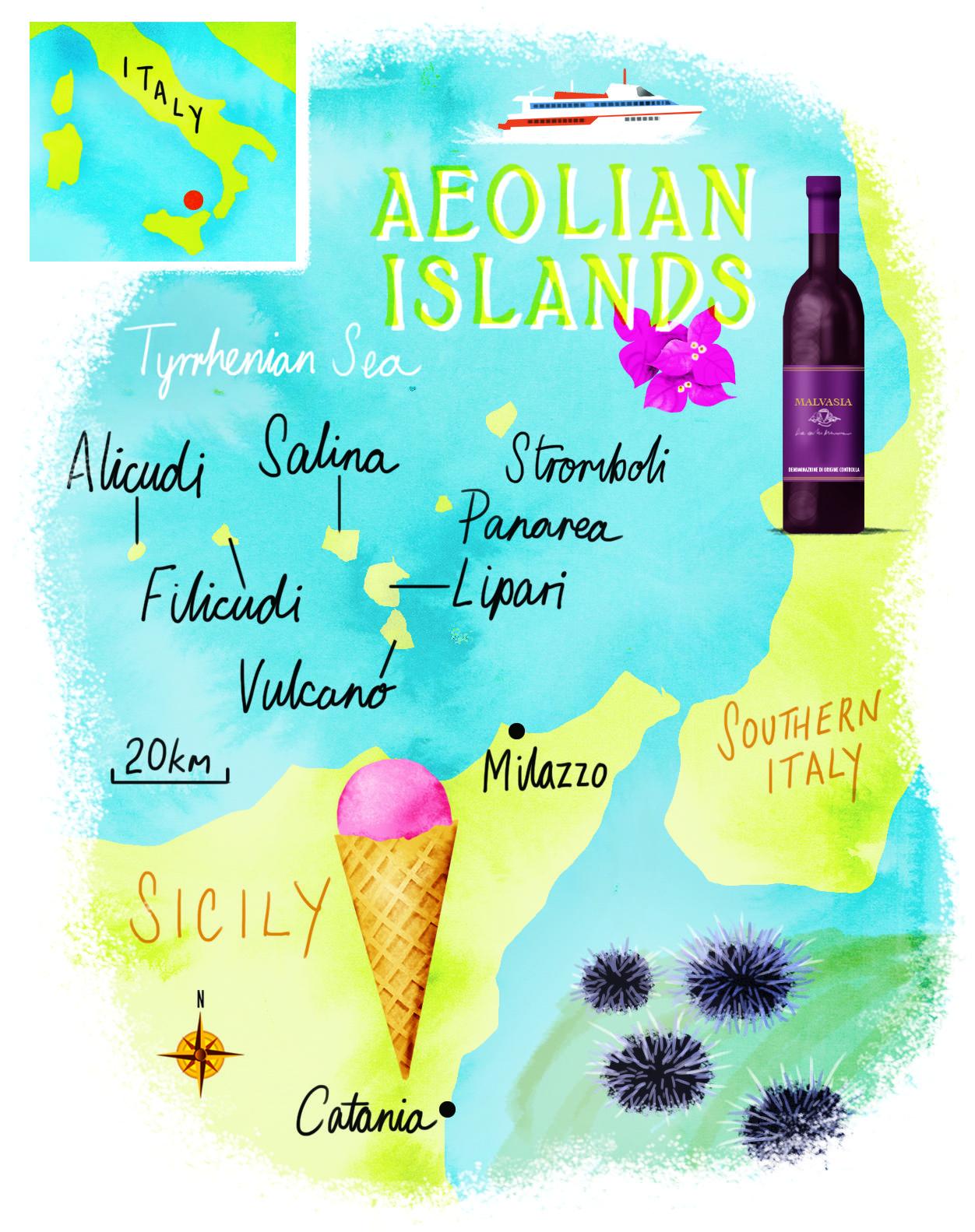 Aeolian Islands map by Scott Jessop May 2015 issue Maps