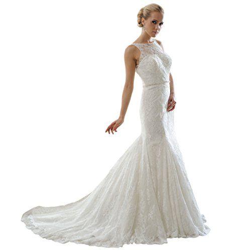 HarveyBridal Deep V-neck Back Mermaid Lace Wedding Dress
