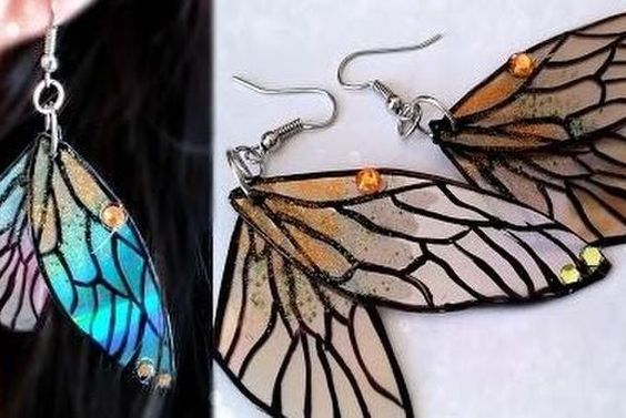 Recycled CD Fairy Wing Earrings Tutorial (The Beading Gem's Journal) #recycledcd Recycled CD Fairy Wing Earrings Tutorial #recycledcd