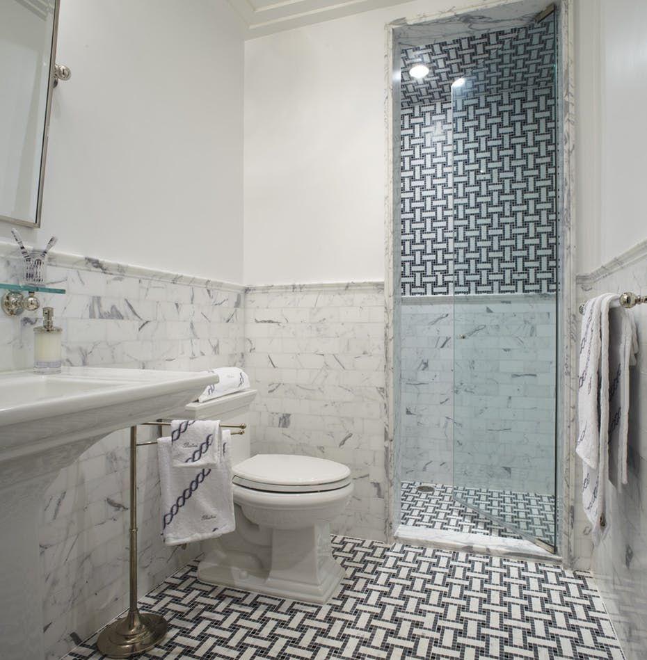 Gold Coast Apartment By Eva Quateman Lookbook Dering Hall Tile Patterns Transitional Bathroom White Marble Tile Floor
