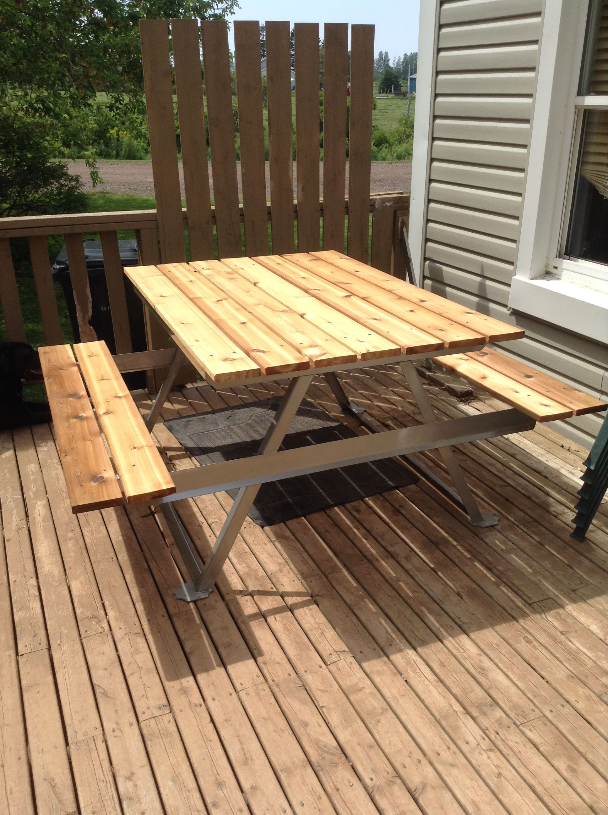 Picnic Table Made From Stainless Steel And Red Cedar Not Your - Stainless steel picnic table