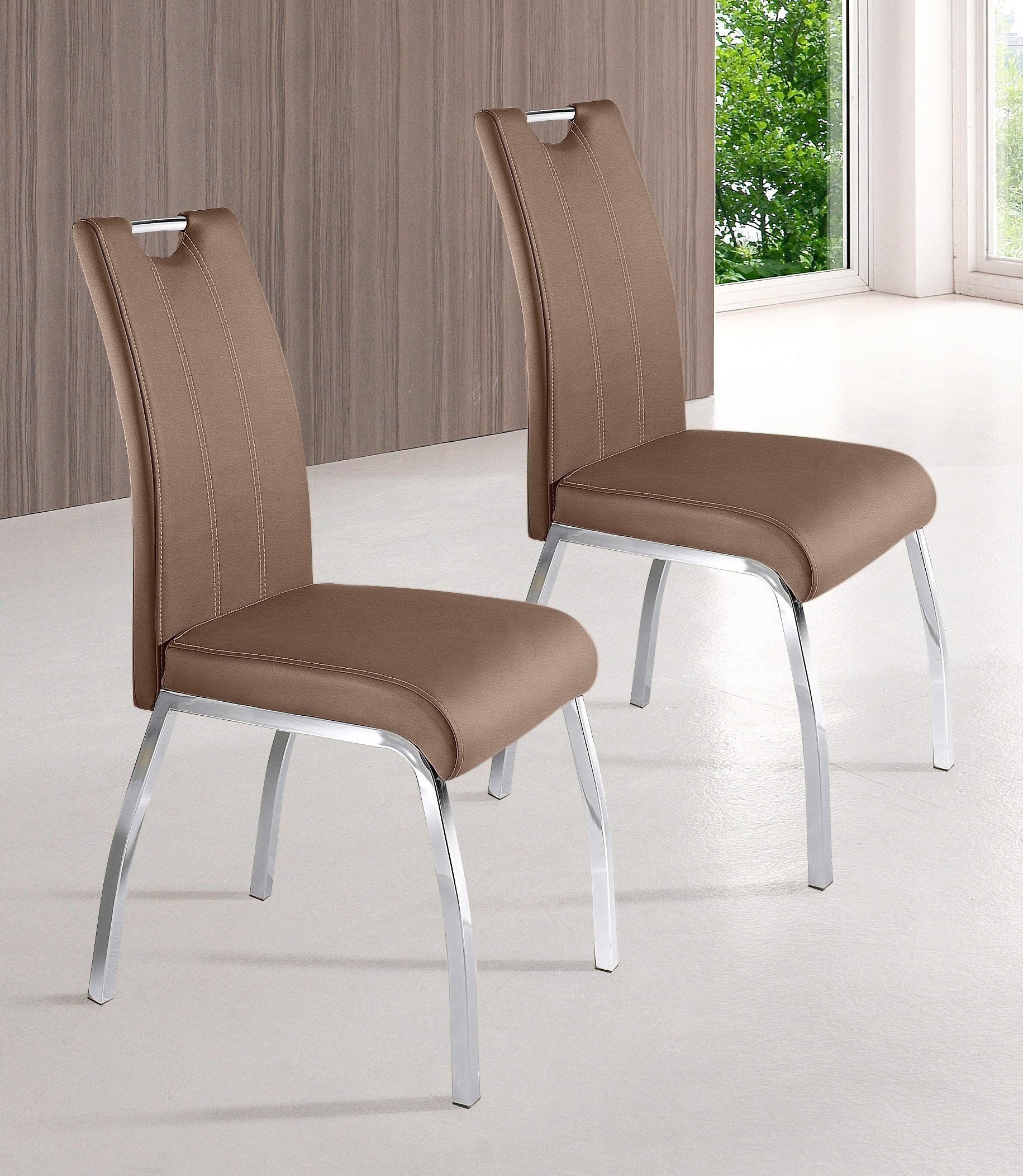 Stühle (2 Stck.) beige, Gestell Vierfuß chrom, Kunstleder ...