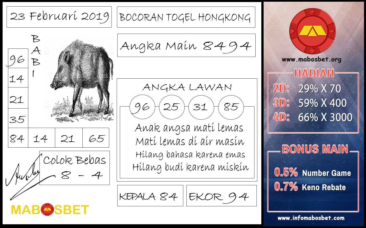 Bocoran Togel Hongkong 23 Februari 2019 Angka Main 4D : 8494 Angka