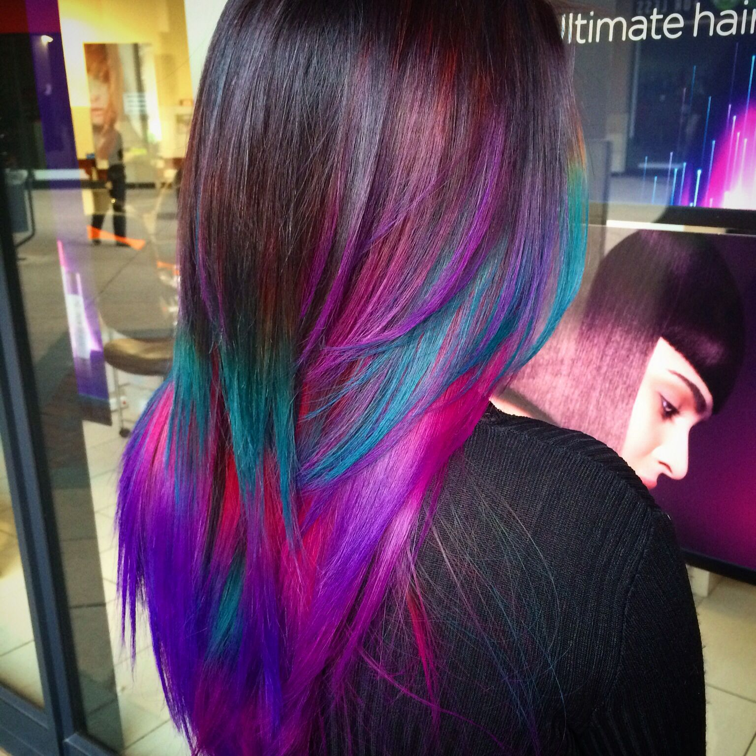 Ombre Hair With Amazing Colour Combination Of Purple, Turquoise And