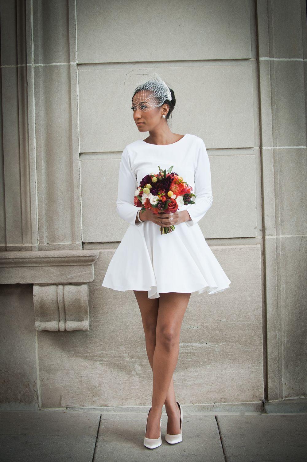 Chic washington dc elopement courthouse wedding dress