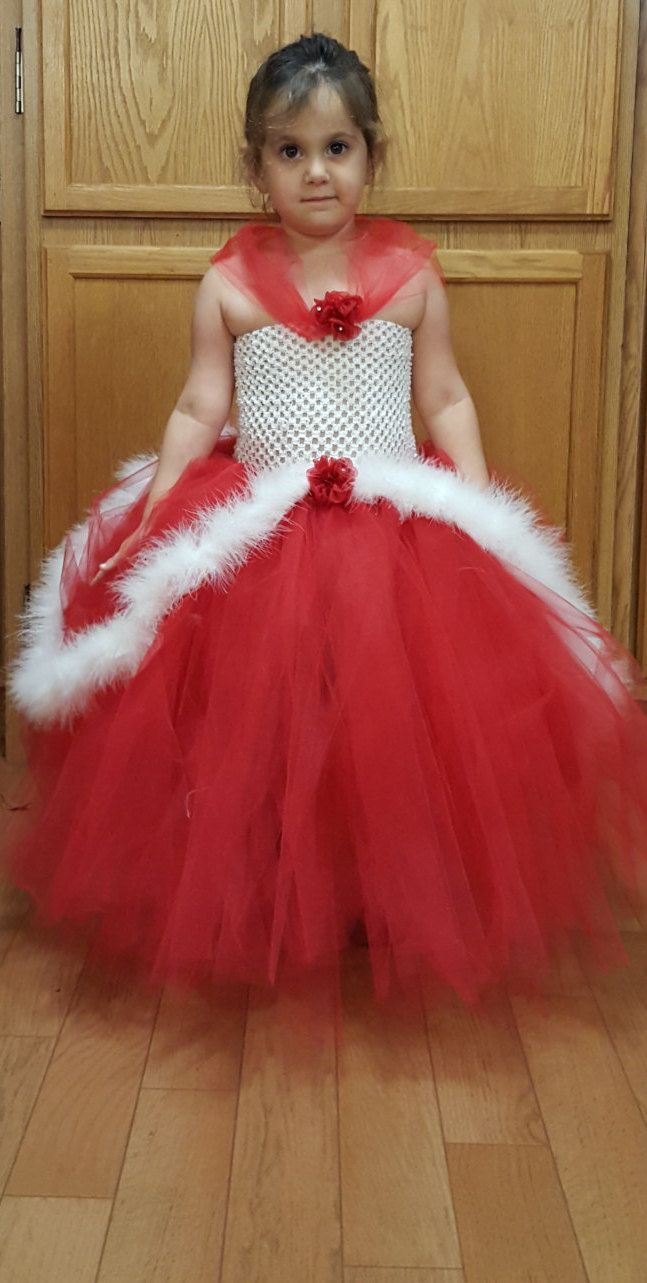 Red and White Christmas Pageant Dress Up Costume Flower Girl Tutu Dress by Marysbowsnboards on Etsy