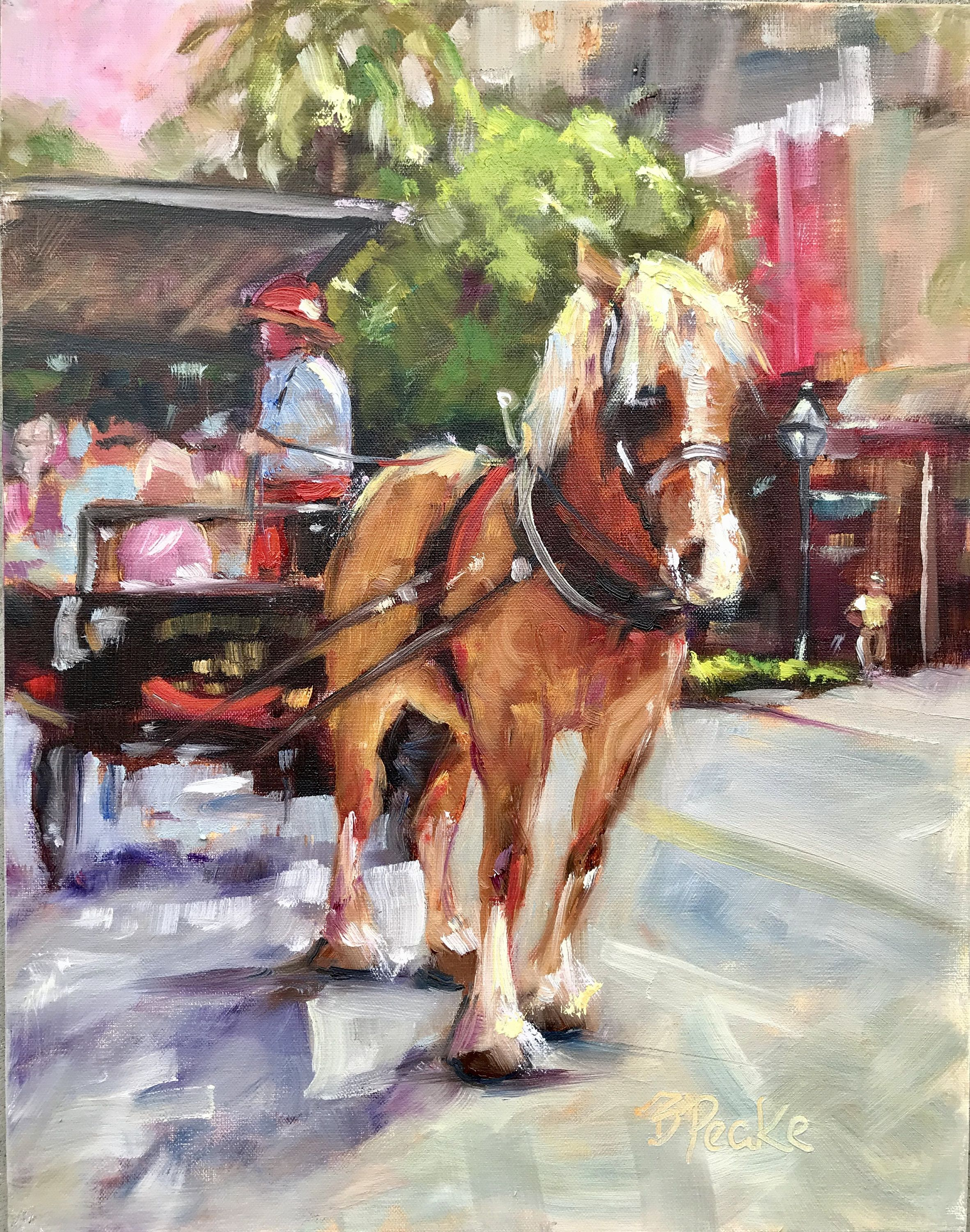 2020 Coral House Christmas Horse Wagon Ride Original oil painting Charleston carriage ride in 2020   Painting