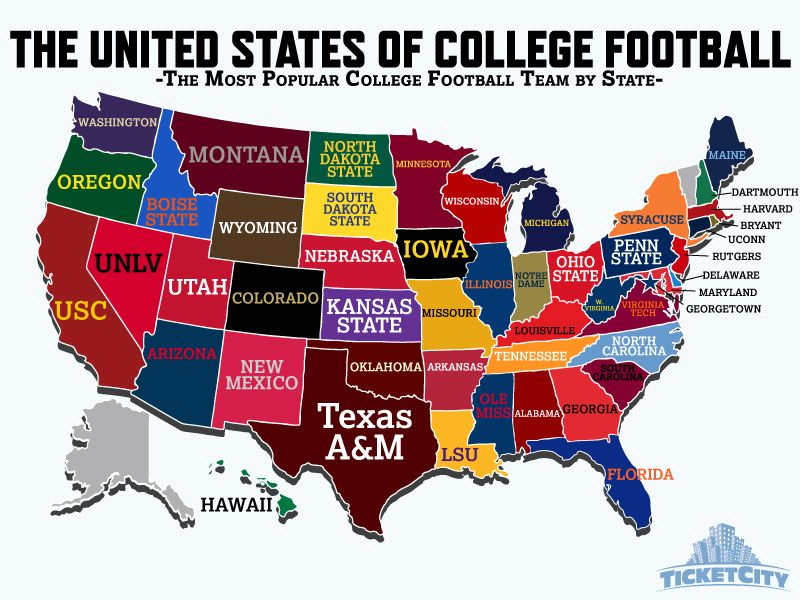 us map of football teams The United States Of College Football The Most Popular College