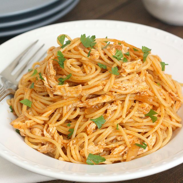 Mix things up for dinner with this easy Chicken Enchilada Spaghetti recipe! This would be good to try on a night where I need to use up leftover shredded chicken or leftover pasta, but we don't just want to eat the same thing as the night before.
