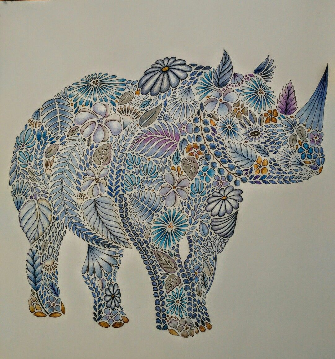 Animal kingdom coloring book gorilla - Millie Marotta S Animal Kingdom Rhino With Faber Castell Pencils