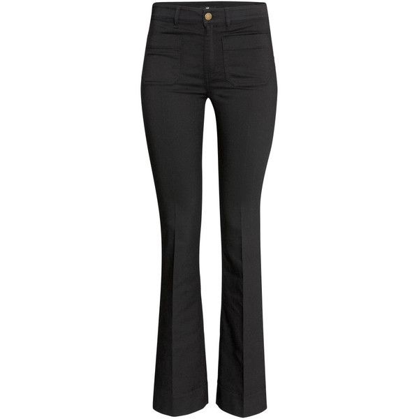 H&M Flared trousers ($31) ❤ liked on Polyvore featuring pants, black, flared pants, h&m, black pants, black trousers and black flare pants