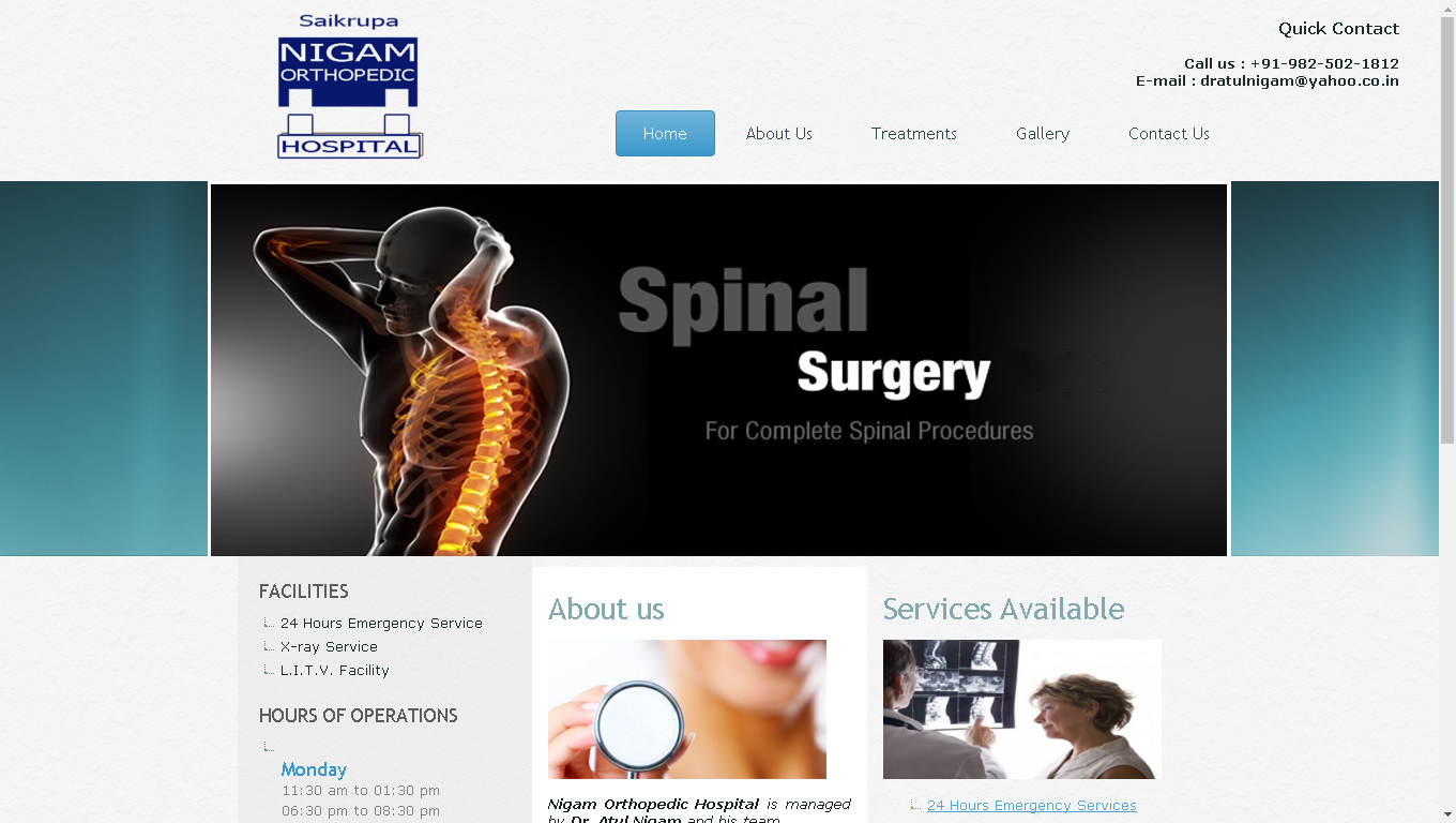 Are You Looking for Spinal Structure Sergery,Joint Replacement Sergery,X-ray Service,Orthopedic,Shoulder Joint Replacement Sergery Hospital in Ahmedabad?? Visit: http://www.nigamorthopaedichospital.com