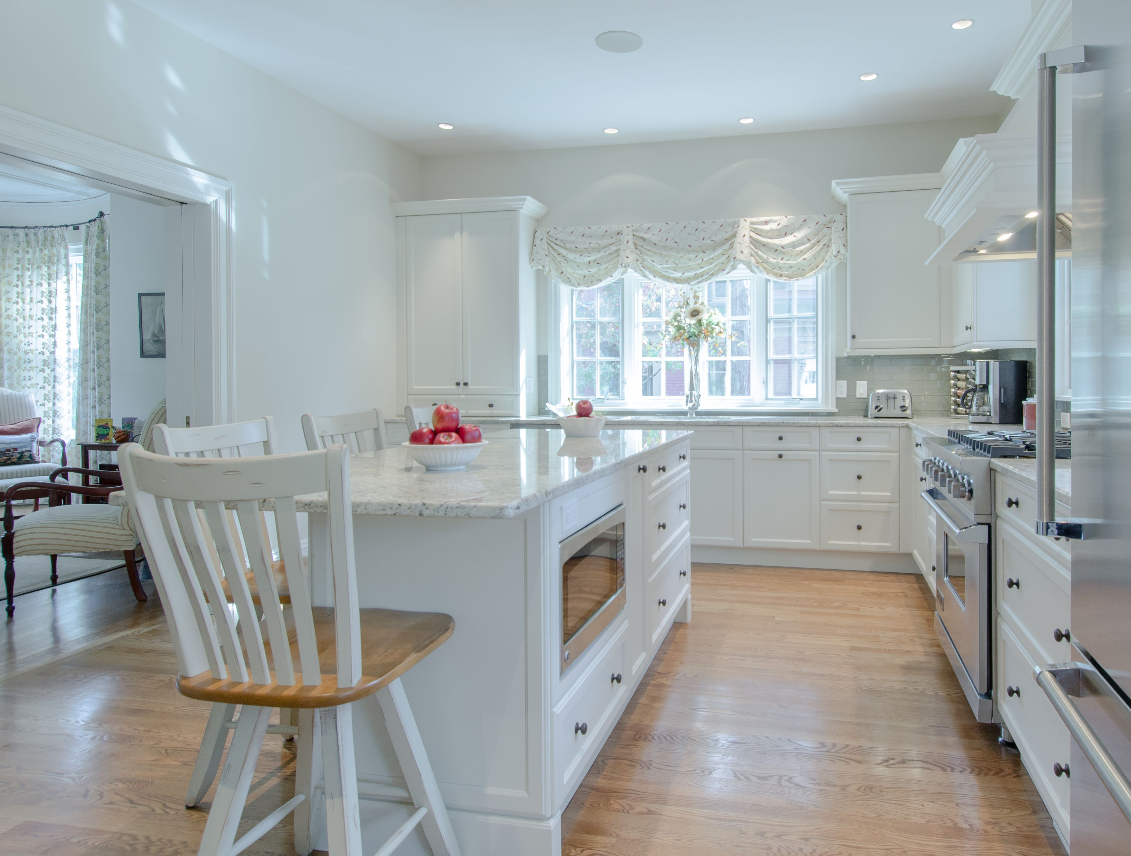 Kitchen Island - white paitned cabinetry, kitchen island with ...