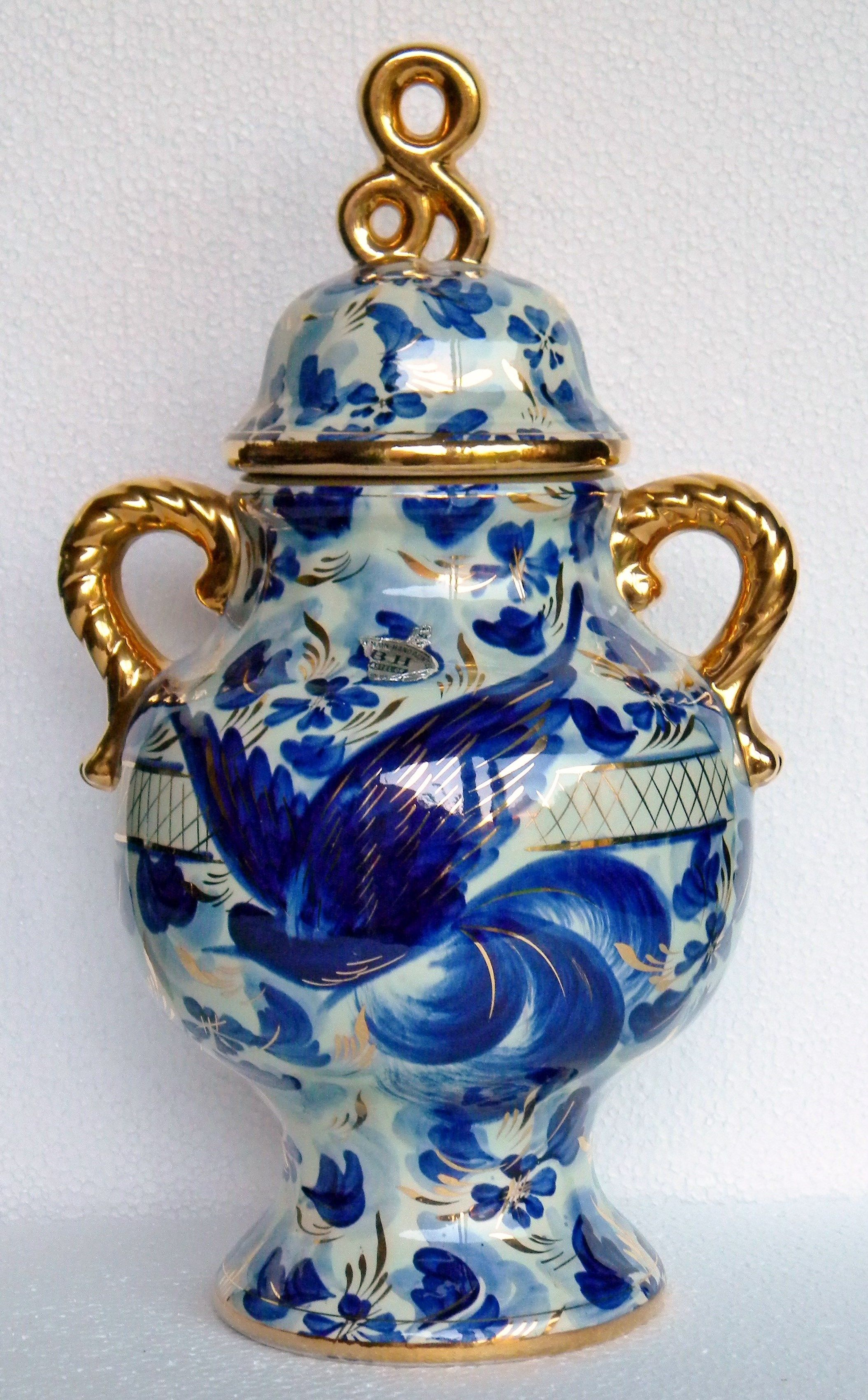 An extravagant blue white and gold hand painted vase vintage an extravagant blue white and gold hand painted vase vintage dating from 1950s reviewsmspy