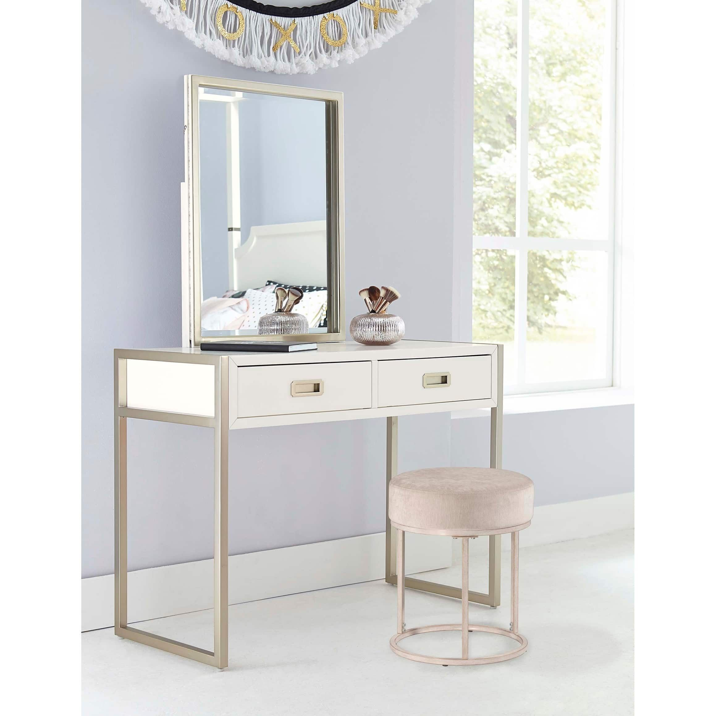 Hilale Furniture Swanson White Metal Vanity Stool