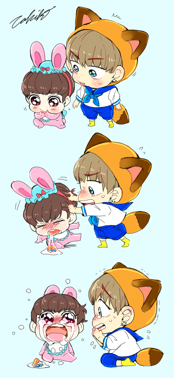 TAE WAS ONLY TRYING TO BE A GOOD BROTHER ;-; or member... idk what the artist interprets them as in her fanart
