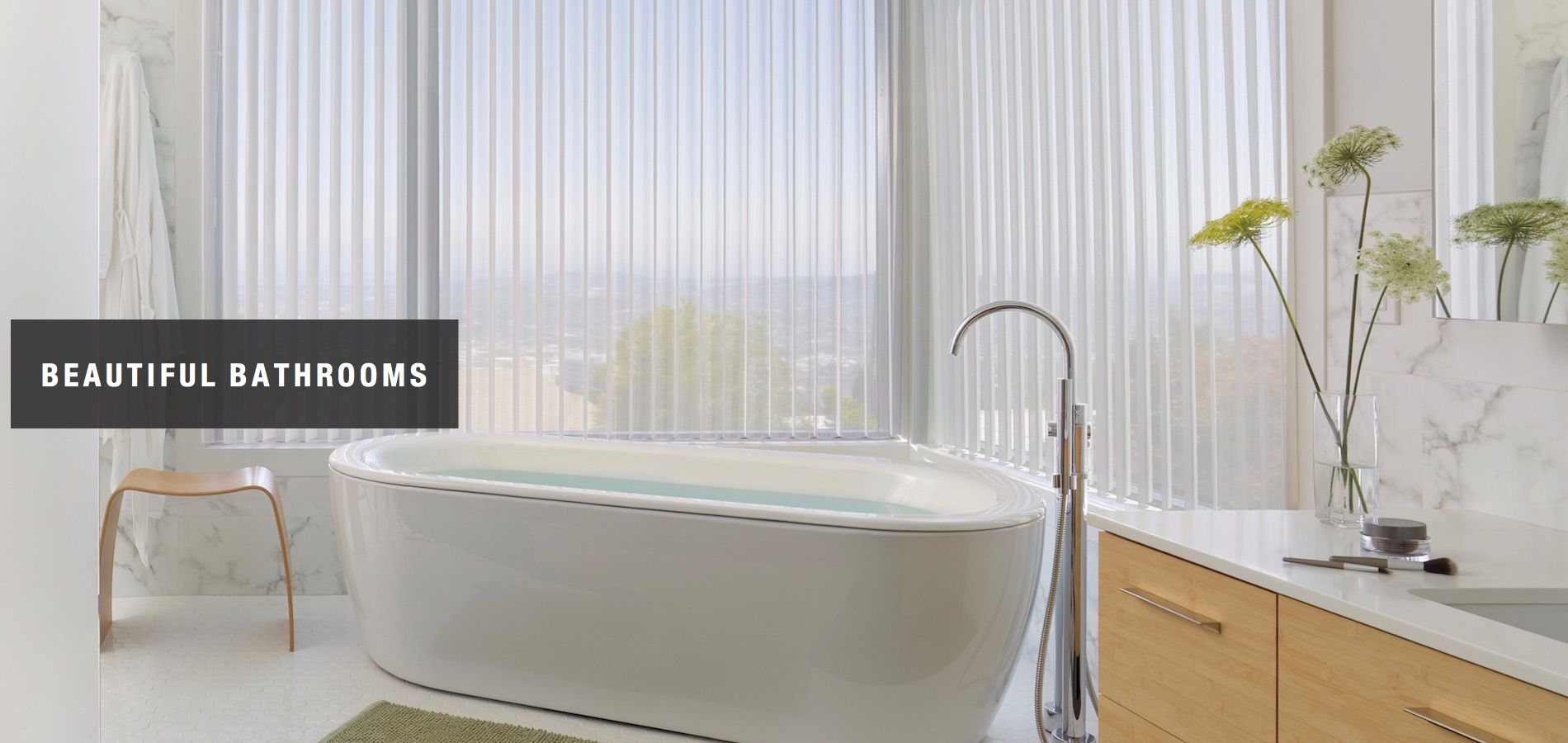 A serene bathroom with Luminette® Privacy Sheers; available at Whole ...