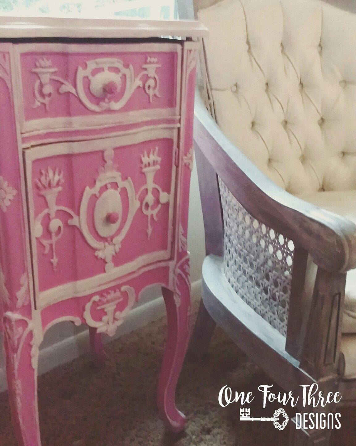Handpainted french provincial end table done in heirloom traditions and general finishes hand painted cane chair done in general finishes antique white and