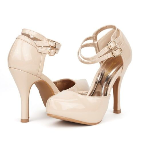 ee8af9102a6 DREAM-PAIRS-OFFICE-02-Women-039-s-Double-Ankle-Strap-Almond-Toe-High-Heel- Pumps-New