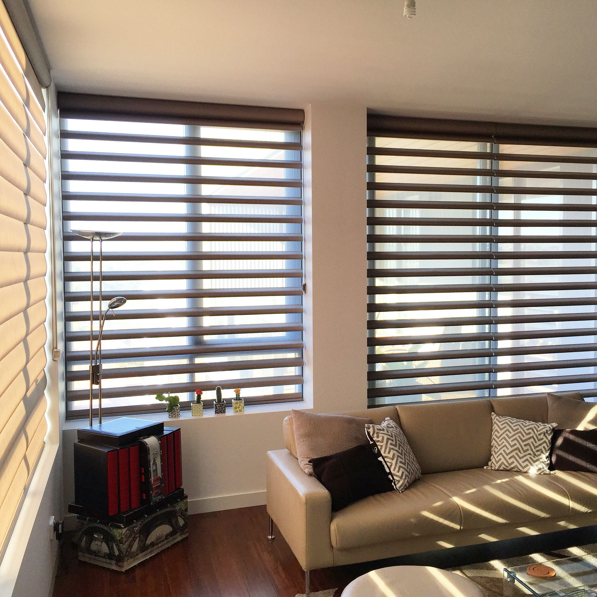 and of operated window designer banded fashions douglas fabric sheer blinds shades brown pirouette product bnd ruffell the dobby when st detail hunter bands solid
