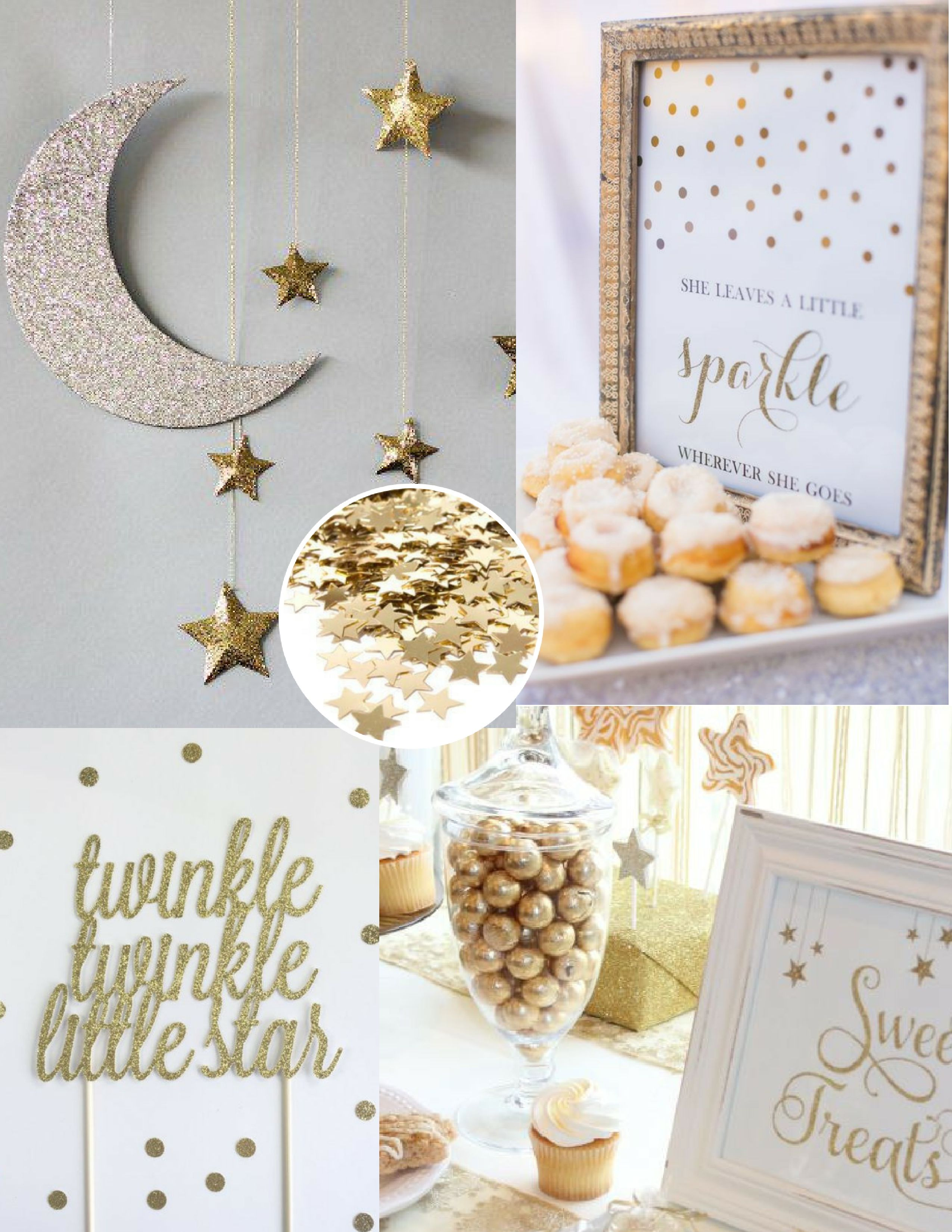 Twinkle Twinkle Little Star Baby Shower, White And Gold Baby