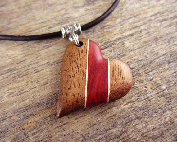 Wood Heart Necklace Hand Carved Heart Pendant On Leather Necklace Lovers Jewelry Wood Anniversary Gift For Her Wood Heart Necklace Wood Necklace Diy Wooden Jewelery