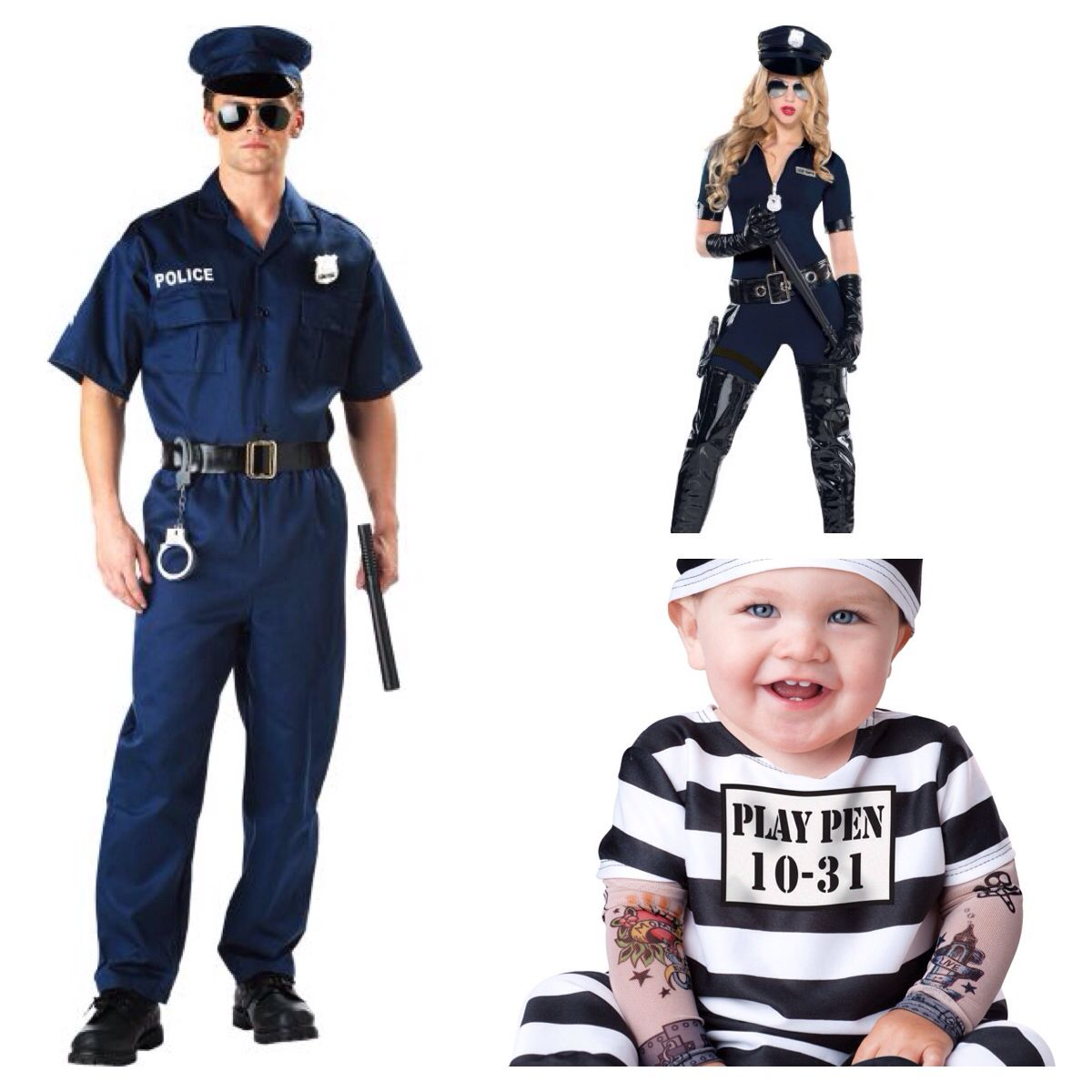 e3e41e98 Cops and robbers themed family costumes - cops and baby prisoner ...