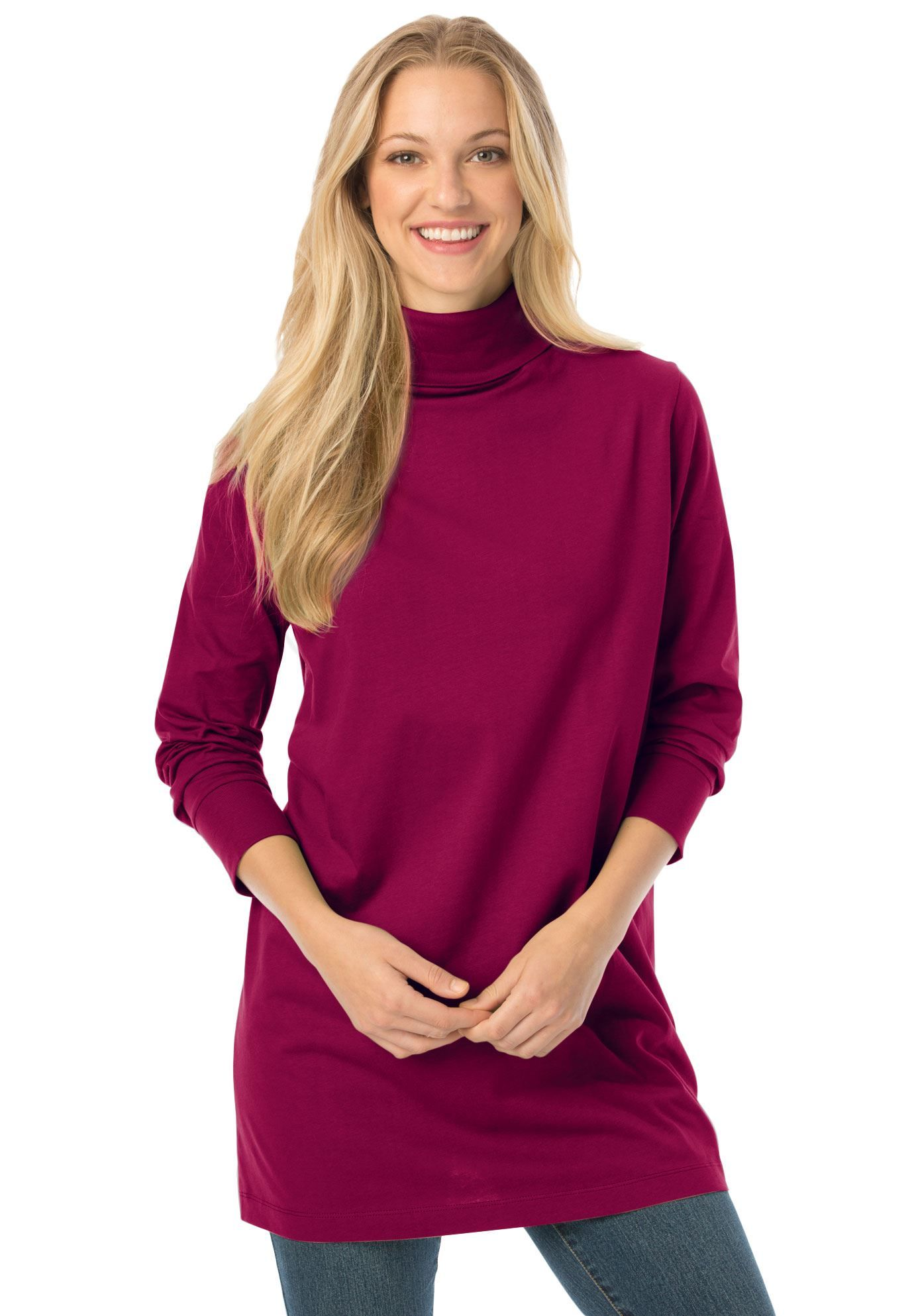 Plus Size Classic fit Perfect cotton turtleneck tunic