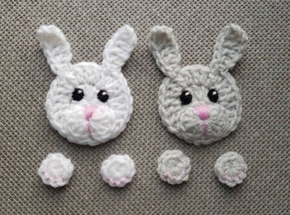 BUNNY Applique, Crochet Rabbit, Crochet Applique, White Bunny, Sewn on Applique, Animal Motif, Handmade Applique, Woodland Animals, Crafts