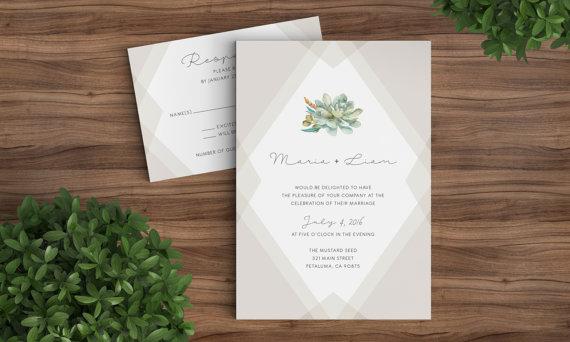 Succulent Wedding Invitation Template Printable Rustic