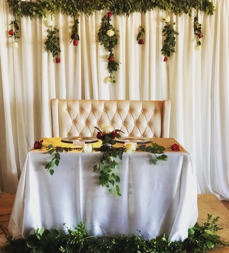 Burgundy, Ivory and Eucalyptus head table | Outdoor ...  |Outdoor Wedding Reception Head Table