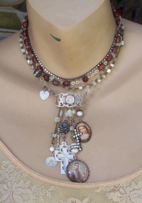Isn't It Romantic Antique MOP Rosary French Sterling by angels9, $104.00